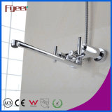 Fyeer Double Handle Long Spout Brass Bath Faucet con Diverter