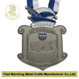 Antique Silver Plating, 3D Effect를 가진 Medallion를 가진 메달