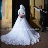 Vestido de casamento feito sob encomenda G1786 de Tulle do laço longo nupcial muçulmano das luvas do vestido de casamento