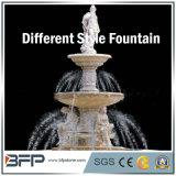 Weißer Marmor geschnitzter Steinwasser-Brunnen für Garten-Umlagerung-Dekoration