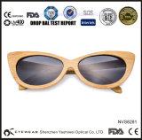 Óculos de sol puros naturais do bambu da forma do olho de gato