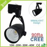 Lumière commerciale d'endroit de piste de Dimmable DEL d'ÉPI de 10W 20W 30W 40W 50W