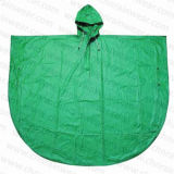 PVC promozionale Rain Poncho di Green Color per Children o Adult