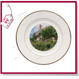 Double Gold Rimsの安いWhite Ceramic Round Sublimation Plates