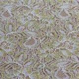 Tissus en nylon de lacet de cordon de coton de broderie avec la soie d'or