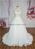 A - линия платье венчания шнурка прибытия задней части иллюзиона новое