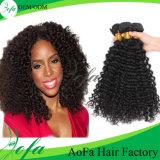 Extensión rizada de calidad superior sin procesar del pelo humano de la armadura del pelo rizado