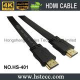Cable plano trenzado 1080P del PVC HDMI del blindaje