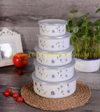 5PCS de Kom van de Salade van het Email van de Container van het voedsel met Geschilderde Bloemen