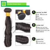 加工されていない毛のばねのカール7Aのバージンの人間の毛髪のよこ糸