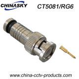 Connettore maschio BNC di compressione del CCTV per RG6 cavo (CT5081/RG6)