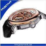 シンセンPostarは本革バンドが付いている骨組自動腕時計を見る