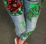 Джинсыы печатание перл Sequins женщин славной прямой помытые вышивкой