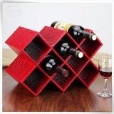 El vino de cuero personalizado del embalaje de la PU encajona el estante del vino