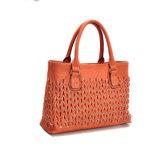 Umsponnene lederne Frauen-lederne Handtaschen