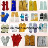 キャンバスの袖口(HL-G04)が付いている長い溶接手袋、等級のUnlined穀物牛革溶接手袋、良質牛グレーンレザーの溶接工の手袋の製造者