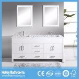 Accessoires classiques de salle de bains en bois solide de fin élevée avec deux bassins (BV130W)