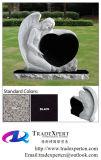 Headstone preto do anjo do granito com coração