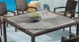 La Tabella pranzante esterna della mobilia impermeabile reale di disegno ha impostato con il blocco per grafici di alluminio con rattan di vimini (YTA362-1&YTD533-2)