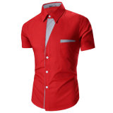Camice di vestito alla moda da contrasto degli uomini con la casella della cassa (A450)