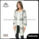 Teste padrão geométrico Hairy Knit bolso Cardigan por Mulheres