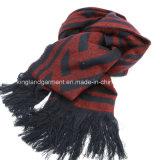 Черный зимы способа Acrylic 100% теплый & белый Striped окаимленный шарф