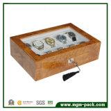 Rectángulo de reloj de madera del almacenaje del compartimiento con la almohadilla multi