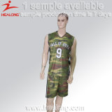 Projeto uniforme do basquetebol de Jersey do Sublimation de Camo
