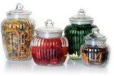 Frasco de armazenamento de vidro Ribbled Push Lid Food Kitchen Preseving Container