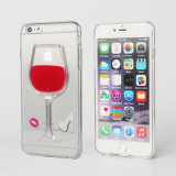 Nuovo 3D Liquid Red Wine Glass Design TPU Phone Caso per 6/6 di Plus