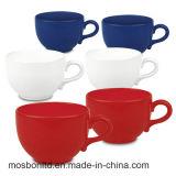 Canecas enormes brancas da fábrica do divertimento e azuis vermelhas de Latte da porcelana do café (ajustar de 6 ou de 4)