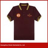 Disegno uniforme della camicia di polo del Mens del ricamo su ordinazione del nero (P35)