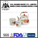 China Proveedor 5PCS Flor Decal Esmalte Hierro fundido Cookware Set