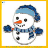 Pin duro de la escritura de la etiqueta del diseño del muñeco de nieve del esmalte