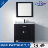 陶磁器の洗面器の黒の立場の浴室の虚栄心のキャビネット