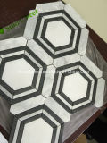 Hexagon Opgepoetste Witte Marmeren Mozaïek van uitstekende kwaliteit van Carrara voor Binnenlandse Derocations