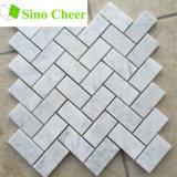 Mattonelle Herringbone di marmo bianche di Carrara della pietra del materiale da costruzione