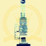 Tubo de agua de cristal del tabaco de la corona del reciclador del color del tazón de fuente del arte del cenicero de los tubos de la burbuja embriagadora de cristal de cristal alta de cristal de 2 cubiletes