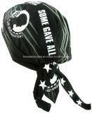 El negro impreso insignia por encargo del algodón se divierte el Bandana Headwrap del casquillo del motorista