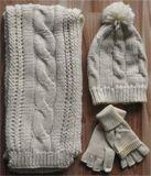 Крышка зимы теплая связанная, шарф, установленные перчатки (KS-2102)