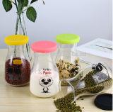 Tarro del alimento del almacenaje de la botella del jugo de la botella de cristal de leche con la etiqueta