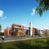 中学校のレイアウトの計画のAerailの眺めのレンダリング