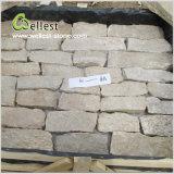ベージュ自然な壁の石スタック石のベニヤ