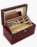 Boîte-cadeau en bois de bijou de fini à haute brillance de bois de rose avec le plateau