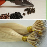 Cheveux humains de boucle de Remy de cheveu de bâton nano russe de fil