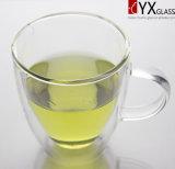 taza de cristal del té de la pared del doble del Alto-Borosilicate 250ml/taza de café de cristal de la pared doble/taza doble del vidrio de la pared