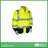 경고 높은 시정 재킷 방수 PU 입히는 사려깊은 안전 재킷