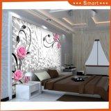 Papel de empapelar de la flor del color de rosa de la pintura al óleo de la sala de estar 3D de la alta calidad