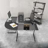 Móveis de estudo moderno Mesa em vidro em forma de L de vidro