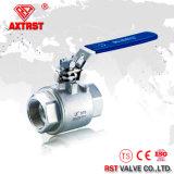 2 robinet à tournant sphérique à passage intégral d'acier inoxydable du PC 2000wog 304